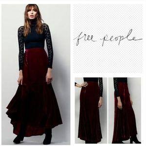NEW Free People Curtain Call Velvet Burgandy Skirt